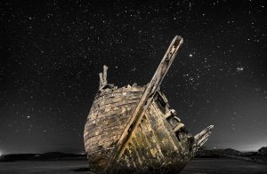 Shipwreck - night time photography - starry night