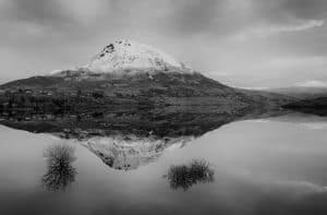 Errigal black and white reflection photography