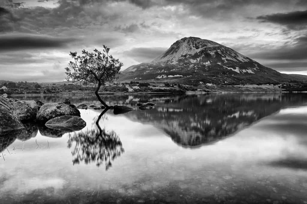 Errigal atmospheric black and white photography