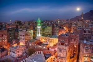 Moonrise over old Sanaa